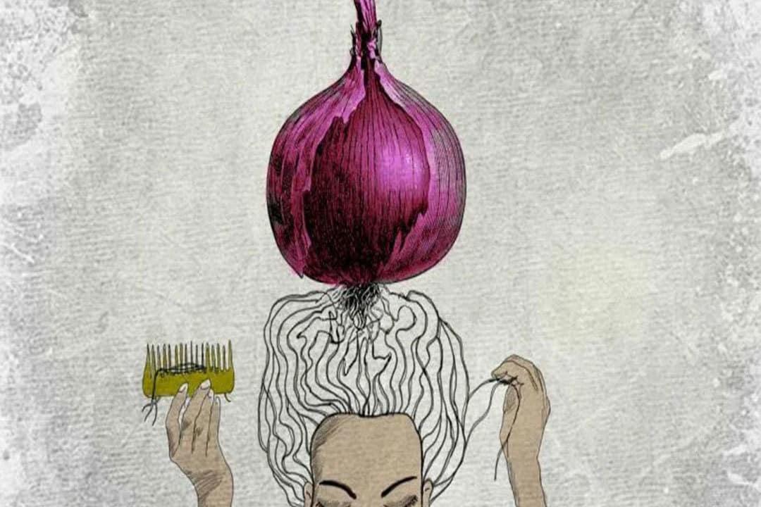 onion for regrowth hair telugu